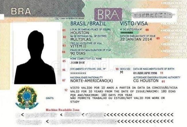 Образец бразильской визы