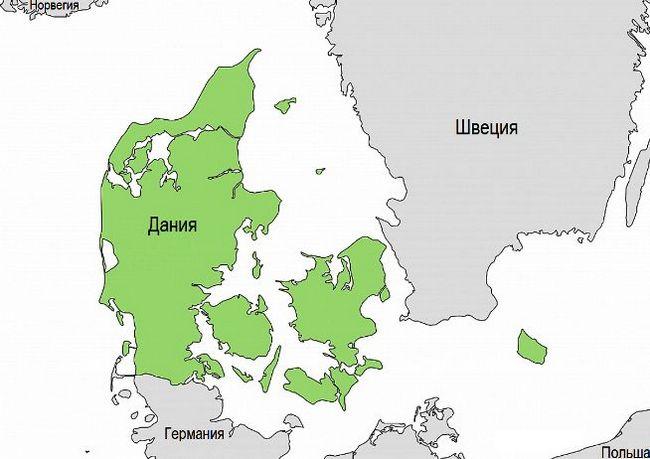 Дания и соседние страны на карте