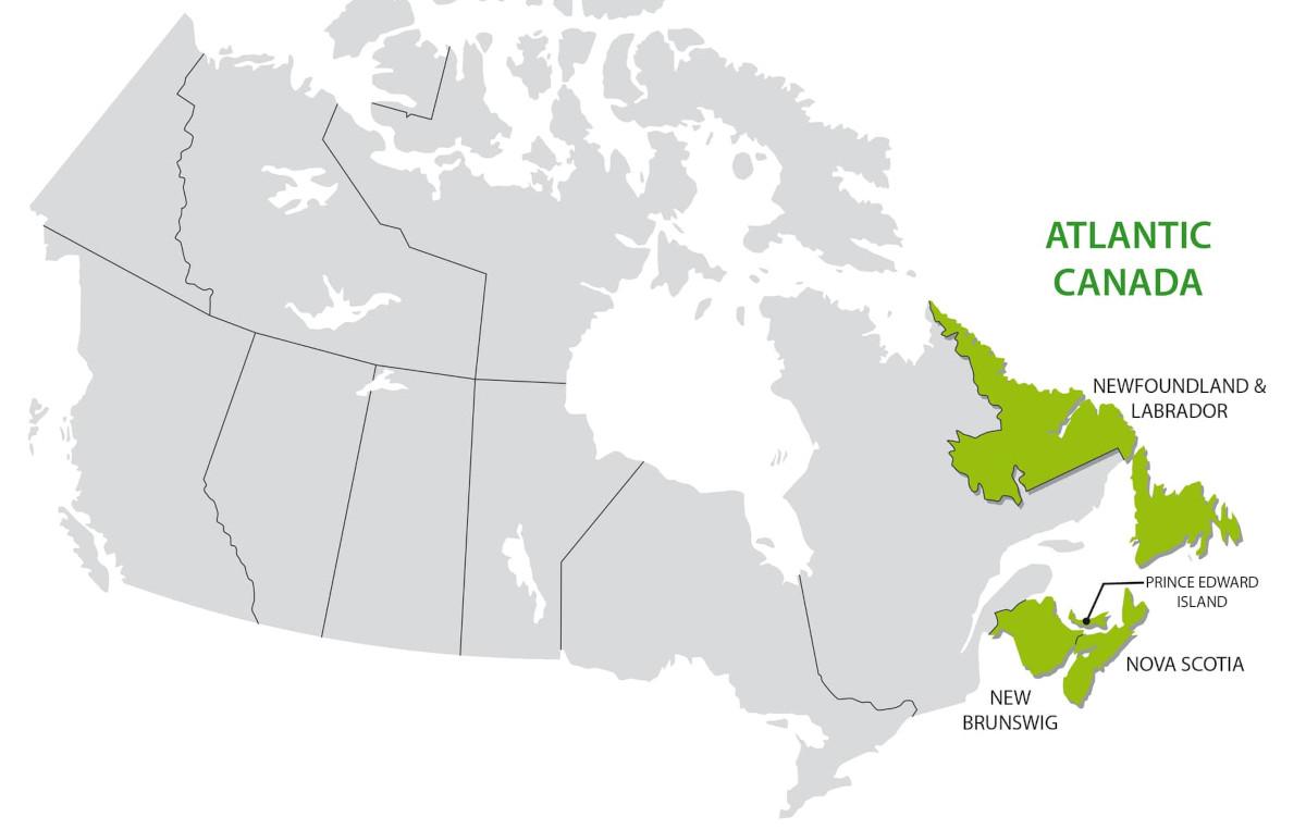 Атлантическая Канада на карте